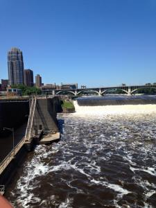 St. Anthony Falls: the only waterfall on the Mississippi River. Downtown Minneapolis on left