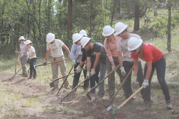The group hard at work digging line! Photo credit: Sarah Lechich