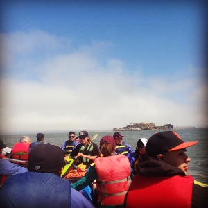 YCC kayak trip with Alcatraz in the background