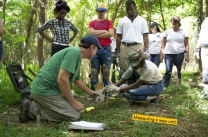 Urban Archeology Corps work with an NPS archaeologist
