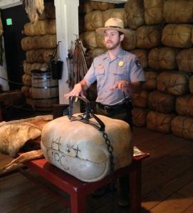 Ranger Bobby Gutierrez demonstrating how a beaver trap works