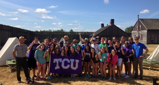 TCU Frog Camp celebrating  after a day of hard work