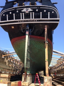 The USS Constitution, currently in dry dock for a three-year long restoration