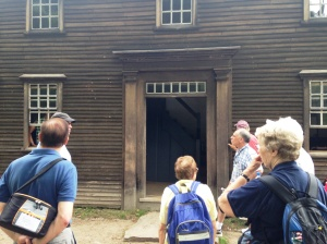 "Volunteers check out the Hartwell Tavern, located along the route where Paul Revere and William Dawes were captured by British Troops on their ride to warn the colonists that the ""regulars"" were coming. A fellow rider, Dr. Samuel Prescott, fled before being captured and hid in the Hartwell Tavern. Prescott awoke the family and warned them of the British regulars, the messaged was relayed and the Minute Men of Lexington and Concord were prepared to fight their first battle."