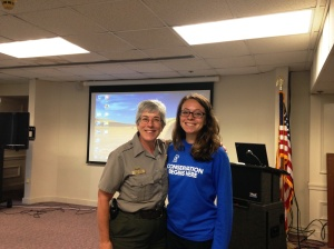 Ranger Emily Prigot, from New Bedford Whaling National Historical Park, and I during the