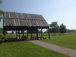 Pavilion at River Raisin National Battlefield Park with archaeology pits for out Archaeology Children's Program.