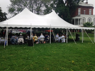 With cloudy skies and a little bit of rain, the event was still able to go on outside of the Commandant's House.