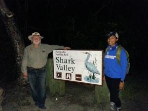 Wayne Rassner, python patrol guide, with SCA-intern Tatiana.