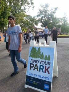 Find Your Park signs greeting volunteers